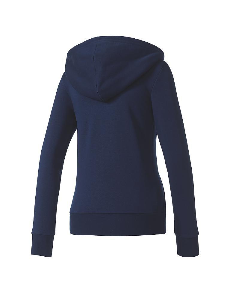adidas damen kapuzenjacke essentials solid blau xs. Black Bedroom Furniture Sets. Home Design Ideas