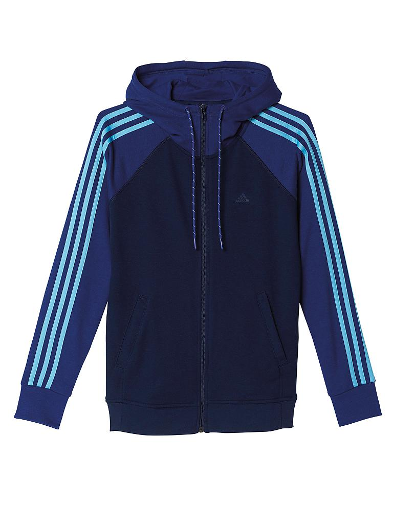 adidas damen sweatjacke ess 3s blau xs. Black Bedroom Furniture Sets. Home Design Ideas