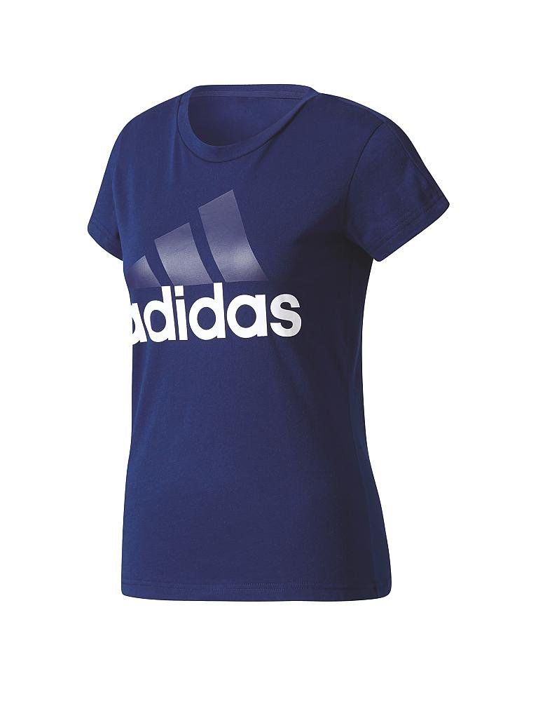 adidas damen t shirt essential linear blau xs. Black Bedroom Furniture Sets. Home Design Ideas