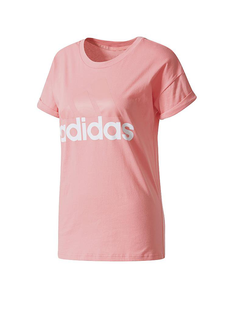 adidas damen t shirt essential linear rosa xs. Black Bedroom Furniture Sets. Home Design Ideas