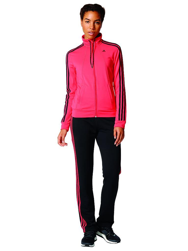 adidas damen trainingsanzug essentials 3s rot xs kurz. Black Bedroom Furniture Sets. Home Design Ideas