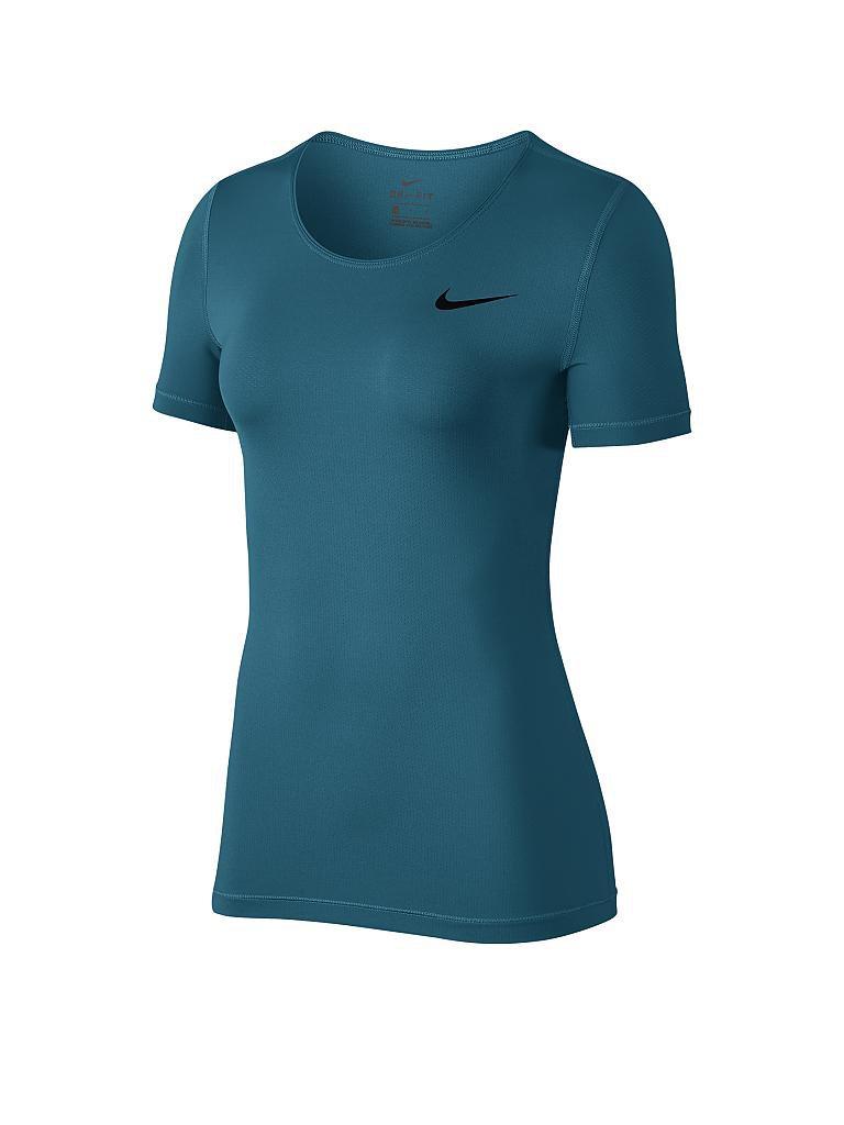 nike damen fitness shirt pro mesh petrol xs. Black Bedroom Furniture Sets. Home Design Ideas