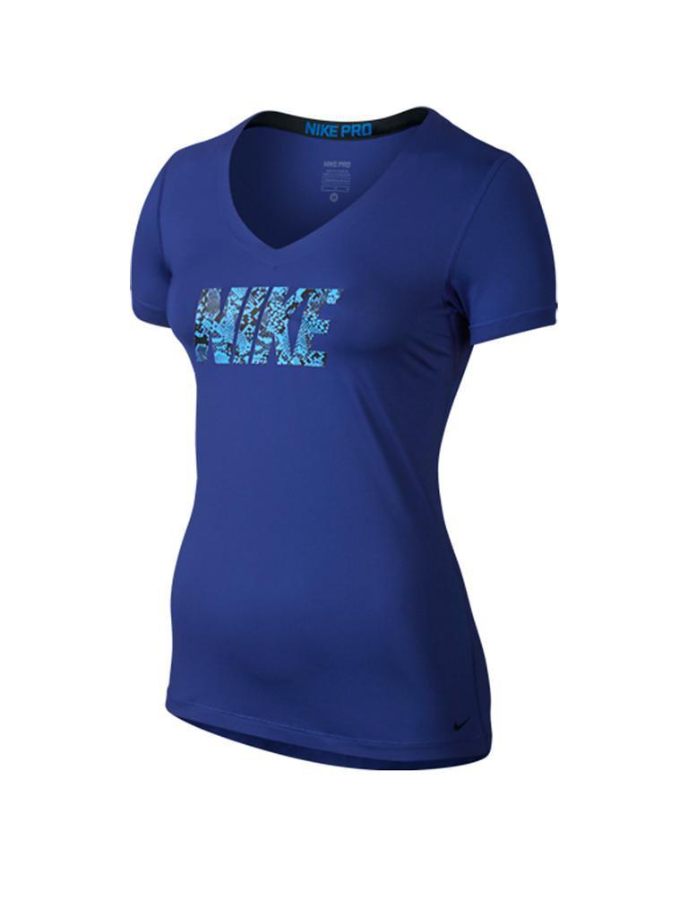 nike damen fitness shirt pro blau xs. Black Bedroom Furniture Sets. Home Design Ideas