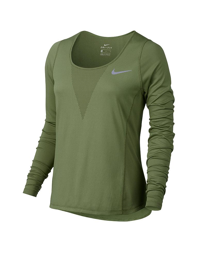 nike damen laufshirt zonal cooling relay olive xs. Black Bedroom Furniture Sets. Home Design Ideas