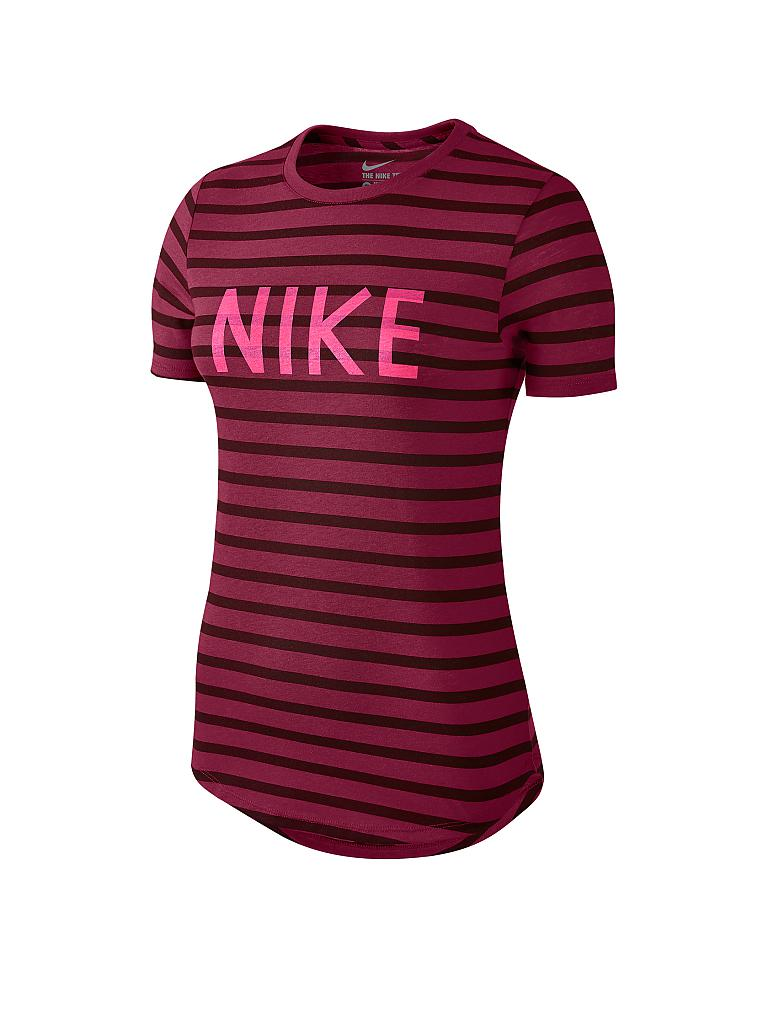 nike damen t shirt stripe crew rot xs. Black Bedroom Furniture Sets. Home Design Ideas