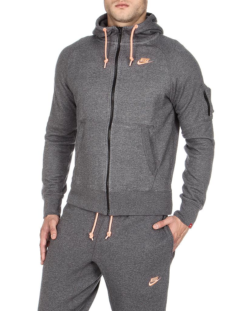 nike herren sweatjacke aw77 fz hoody grau s. Black Bedroom Furniture Sets. Home Design Ideas