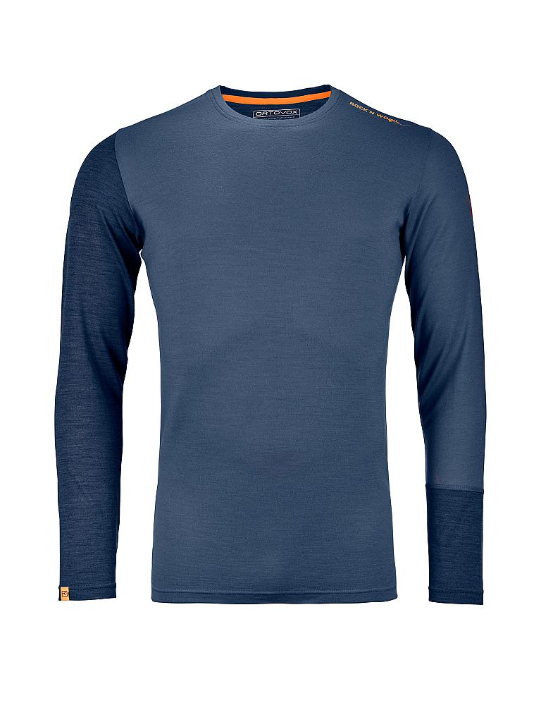 2572a773044cc9 ORTOVOX Herren Shirt Rock n Wool 185 blau
