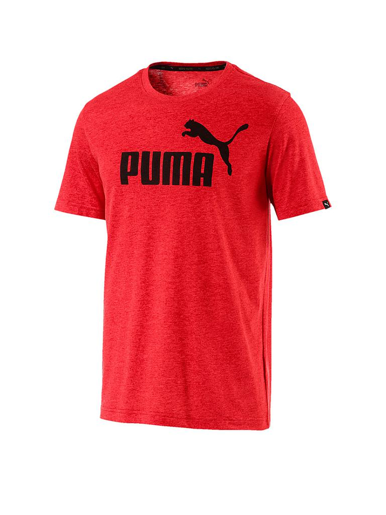 puma herren t shirt essential no 1 heather rot s. Black Bedroom Furniture Sets. Home Design Ideas