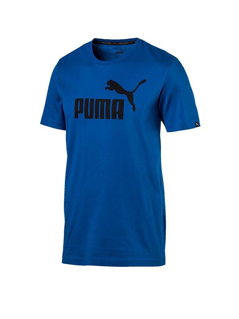 puma herren t shirt essential no 1 blau s. Black Bedroom Furniture Sets. Home Design Ideas