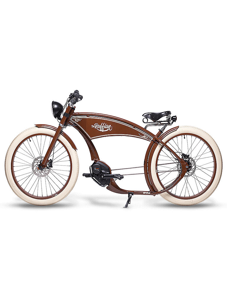 "RUFFIAN | E-Bike 26"" Cruiser The Ruffian Brown 